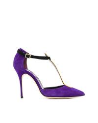 violette Wildleder Pumps von Manolo Blahnik