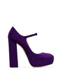 violette Wildleder Pumps von Miu Miu