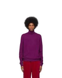 violetter Strick Wollrollkragenpullover von Gucci