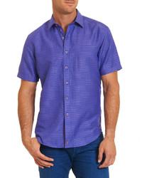 violettes bedrucktes Kurzarmhemd
