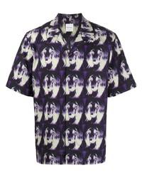 violettes bedrucktes Kurzarmhemd von Paul Smith