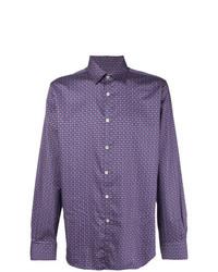 violettes bedrucktes Langarmhemd von Canali