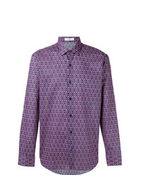 violettes bedrucktes Langarmhemd von Fashion Clinic Timeless