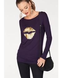 violettes bedrucktes Langarmshirt von Melrose