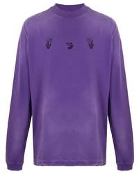 violettes bedrucktes Langarmshirt von Off-White