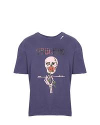 violettes bedrucktes T-Shirt mit einem Rundhalsausschnitt von Alchemist