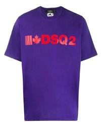 violettes bedrucktes T-Shirt mit einem Rundhalsausschnitt von DSQUARED2