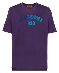 violettes bedrucktes T-Shirt mit einem Rundhalsausschnitt von Missoni