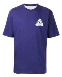 violettes bedrucktes T-Shirt mit einem Rundhalsausschnitt von Palace