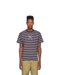 violettes horizontal gestreiftes T-Shirt mit einem Rundhalsausschnitt von Noah NYC