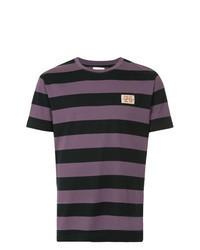 violettes horizontal gestreiftes T-Shirt mit Rundhalsausschnitt