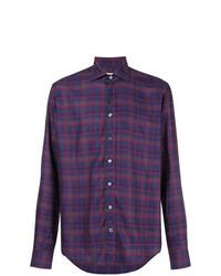 violettes Langarmhemd mit Schottenmuster von Etro