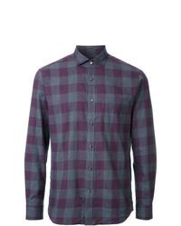 violettes Langarmhemd mit Vichy-Muster von Kent & Curwen