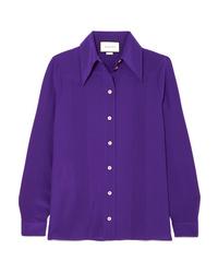 violettes Seide Businesshemd von Gucci