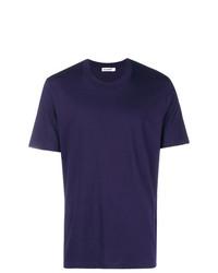 violettes T-Shirt mit einem Rundhalsausschnitt von Jil Sander