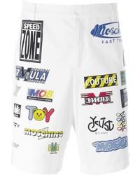 weiße bedruckte Baumwollshorts von Moschino