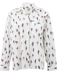 weiße bedruckte Bluse mit Knöpfen