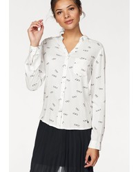 weiße bedruckte Bluse mit Knöpfen von AJC