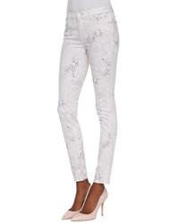 weiße bedruckte enge Jeans
