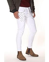 weiße bedruckte enge Jeans von Bright Jeans