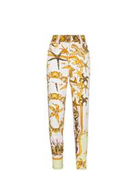 weiße bedruckte enge Jeans von Versace