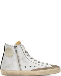 weiße bedruckte hohe Sneakers aus Leder