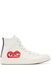 weiße bedruckte hohe Sneakers aus Segeltuch