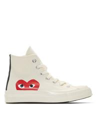 weiße bedruckte hohe Sneakers aus Segeltuch von Comme Des Garcons Play