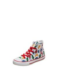 weiße bedruckte hohe Sneakers aus Segeltuch von Converse