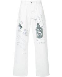 weiße bedruckte Jeans