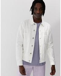 weiße bedruckte Jeansjacke von ASOS DESIGN