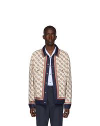 weiße bedruckte Jeansjacke von Gucci