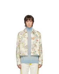 weiße bedruckte Jeansjacke von Lanvin