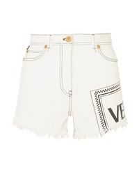 weiße bedruckte Jeansshorts von Versace