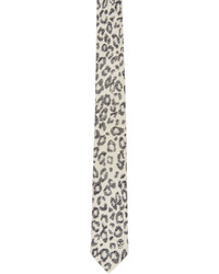 weiße bedruckte Krawatte von Alexander McQueen