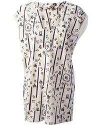 weiße bedruckte Kurzarmbluse aus Seide von Balenciaga