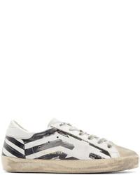 weiße bedruckte Leder niedrige Sneakers
