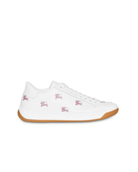 weiße bedruckte Leder niedrige Sneakers von Burberry