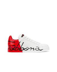 weiße bedruckte Leder niedrige Sneakers von Dolce & Gabbana