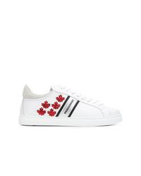weiße bedruckte Leder niedrige Sneakers von Dsquared2