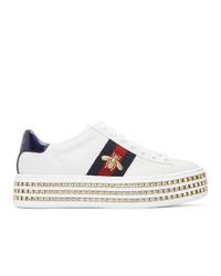 weiße bedruckte Leder niedrige Sneakers von Gucci