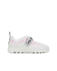 weiße bedruckte Leder niedrige Sneakers von Miu Miu