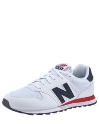weiße bedruckte Leder niedrige Sneakers von New Balance