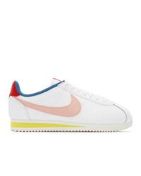 weiße bedruckte Leder niedrige Sneakers von Nike