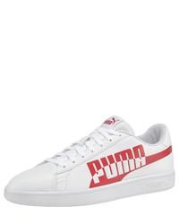 weiße bedruckte Leder niedrige Sneakers von Puma