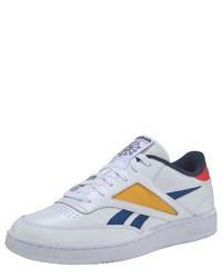 weiße bedruckte Leder niedrige Sneakers von Reebok Classic
