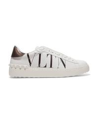 weiße bedruckte Leder niedrige Sneakers von Valentino