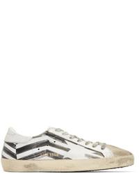 weiße bedruckte niedrige Sneakers