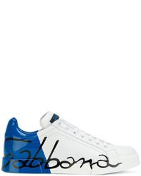 weiße bedruckte niedrige Sneakers von Dolce & Gabbana