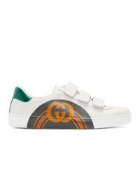 weiße bedruckte niedrige Sneakers von Gucci